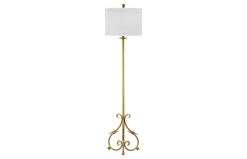 Elisa Baroque Floor Lamp, Gold