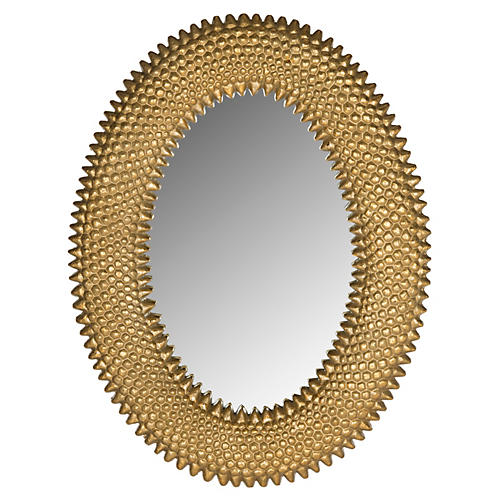 """Perugia 23""""x17"""" Oval Wall Mirror, Gold"""