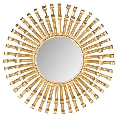 Sunburst Wall Mirror, Brass