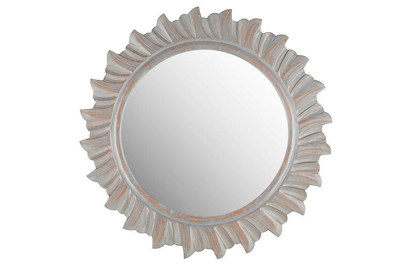 By The Sea Wall Mirror, Gray