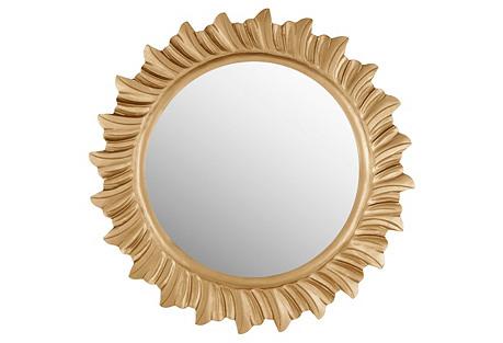 Sunburst Round Mirror, Gold