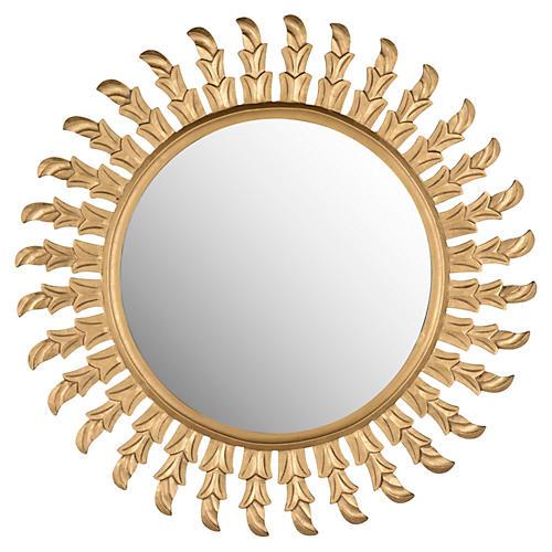 Inca Sun Wall Mirror, Gold