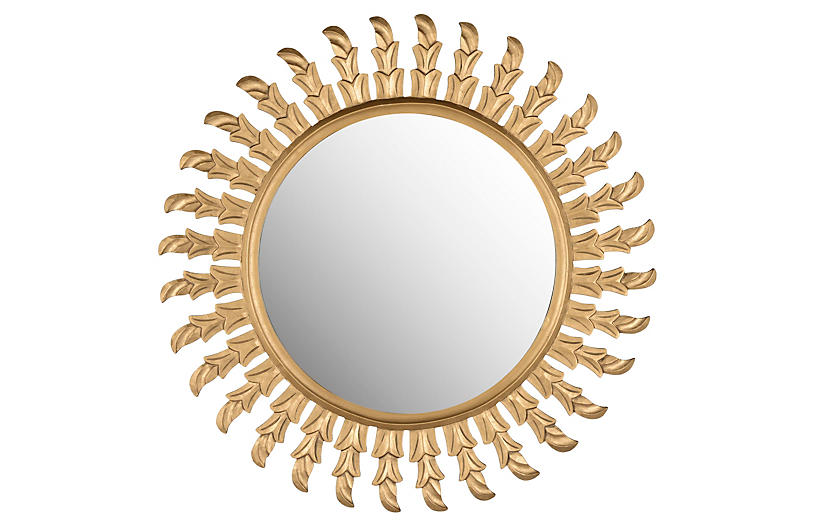 Inca Sun Wall Mirror, Gold