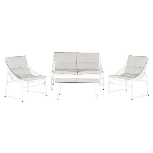 Kit 4-Piece Lounge Set, Beige/White