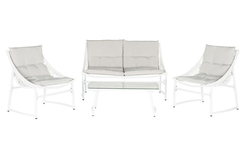 Nina 4-Pc Lounge Set, Beige/White