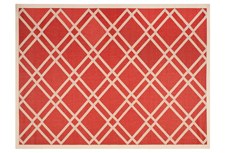 Avril Outdoor Rug, Red/Bone