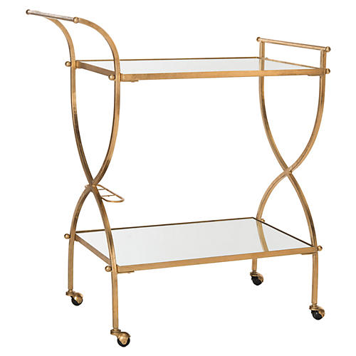 Luiza Bar Cart, Gold