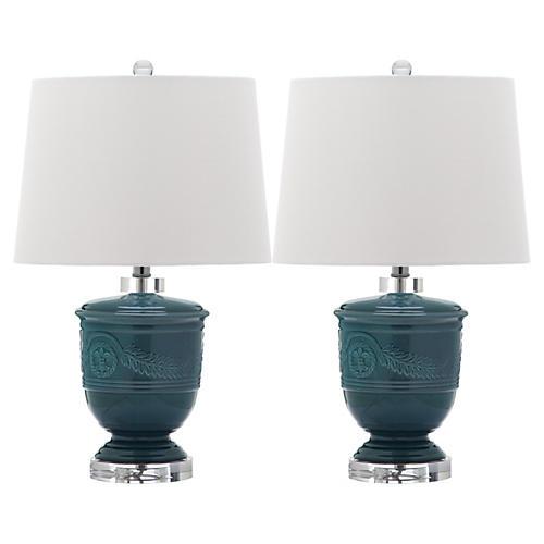 S/2 Shoal Table Lamps, Blue