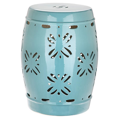 Gordon Garden Stool, Light Blue