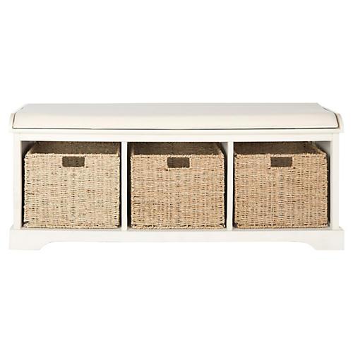 Adair Storage Bench, White