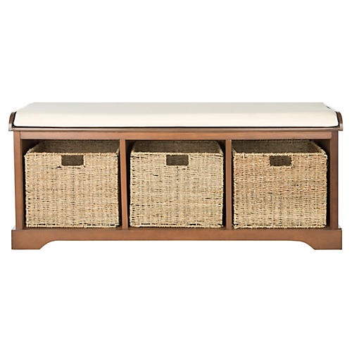 Ada 3-Basket Storage Bench, Natural