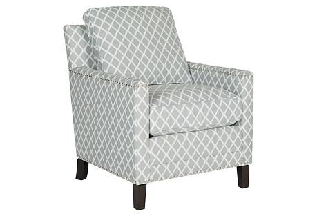 Deema Club Chair, Gray/White