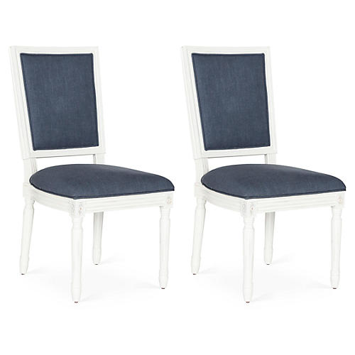 Navy Lucy Side Chairs, Pair