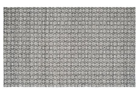 5'x8' Attila Flat-Weave Rug, Charcoal
