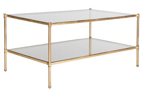 Ruby 2-Shelf Coffee Table, Gold