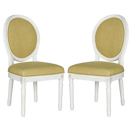 Chartreuse Hunter Side Chairs, Pair