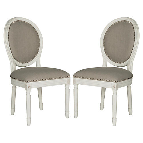Gray Linen Side Chairs, Pair