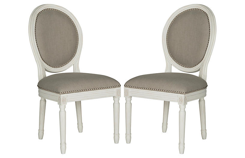 S/2 Haden Side Chairs, Gray Linen