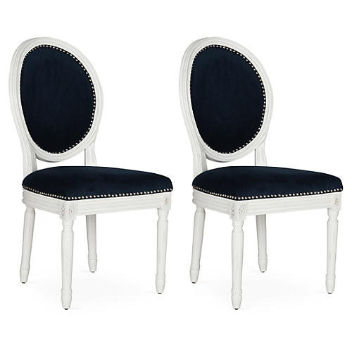 S/2 Hunter Side Chairs, Navy Velvet