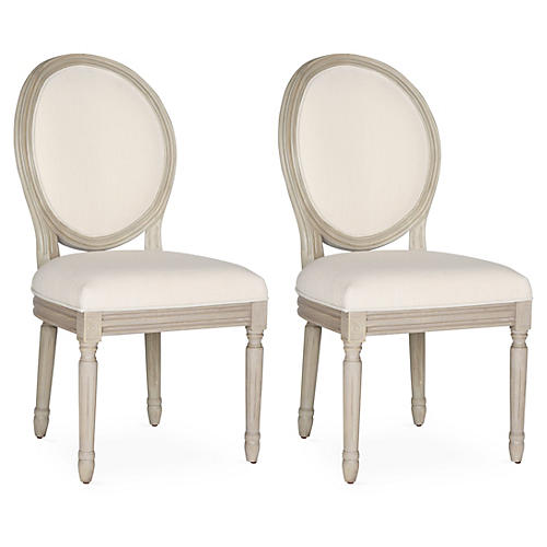 Light Beige Hunter Side Chairs, Pair
