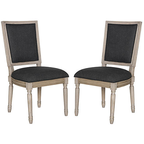 Charcoal Linen Side Chairs, Pair