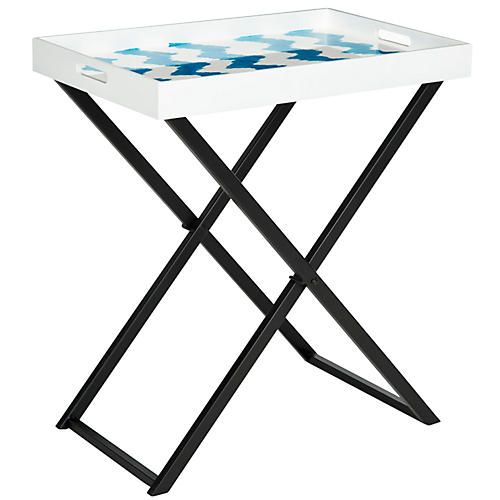 Riley Tray Table, Blue/White