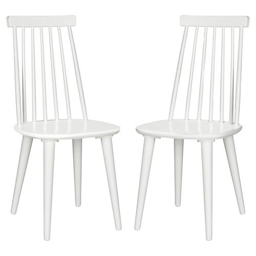White Flynn Side Chairs, Pair