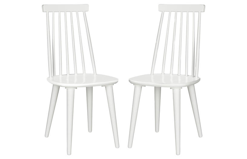 S/2 Flynn Side Chairs, White