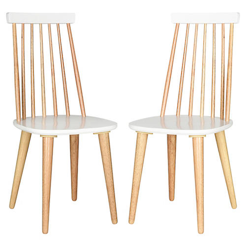 Natural/White Flynn Side Chairs, Pair