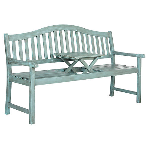 "Outdoor Olivia 63"" Bench w/ Table, Teal"