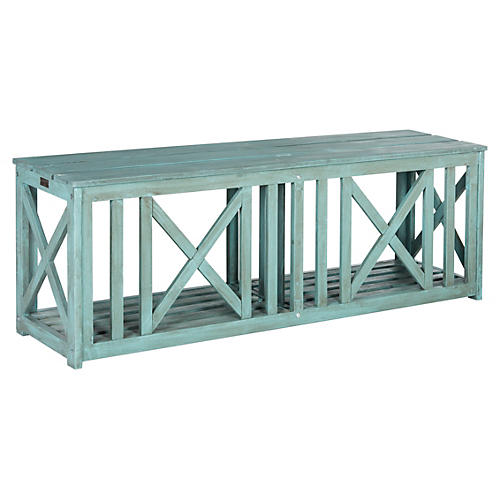 "Outdoor Ari 51.2"" Backless Bench, Teal"