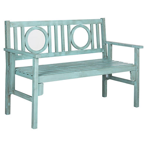 Outdoor Sienna Folding Bench, Teal