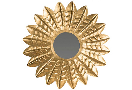 Pierre Wall Mirror, Antiqued Gold