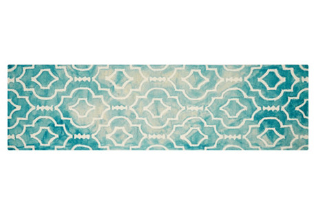 Aluin Rug, Turquoise/Ivory