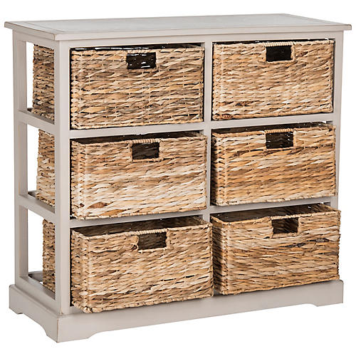 Willow 6-Basket Storage Unit, Gray