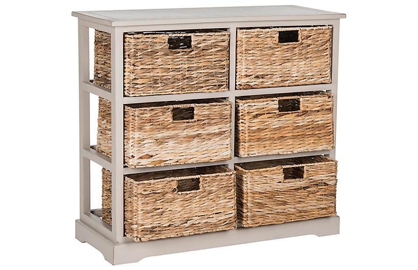 Kera 6-Basket Storage Unit, Gray