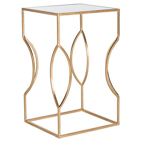 Brynn Side Table, Gold/Mirror