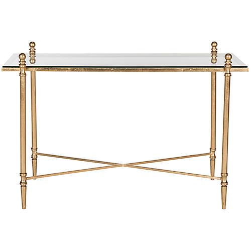 Skye Modern Coffee Table, Gold/Mirror