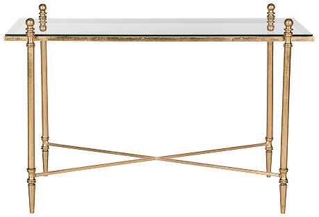 Skye Modern Coffee Table, Gold/Mirror