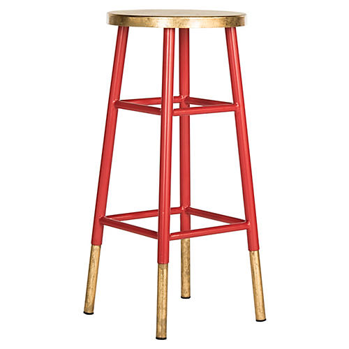 Lacie Barstool, Red/Gold