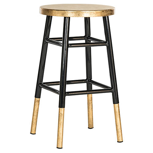 Lacie Counter Stool, Black/Gold