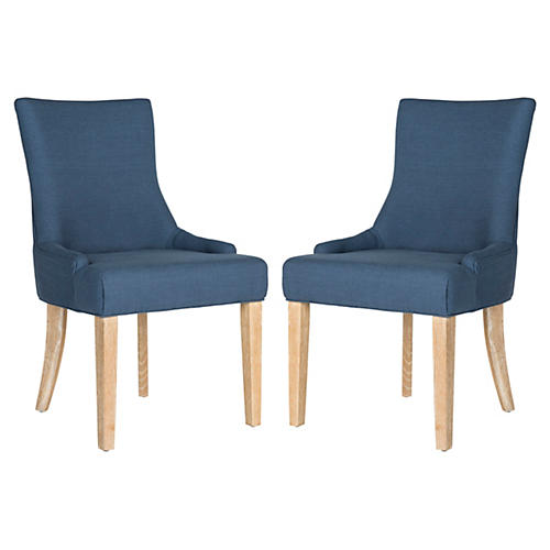 Steel Blue Colbie Side Chairs, Pair