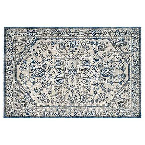 Flavie Jute-Blend Rug, Silver/Blue