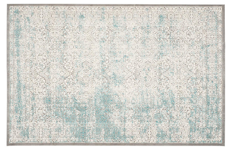 Manon Rug, Turquoise/Ivory
