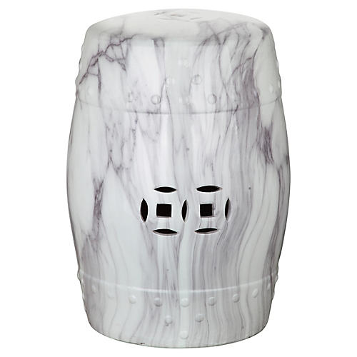 Naimh Ceramic Garden Stool, Marbled