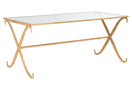 Surrey Glass Coffee Table, Gold