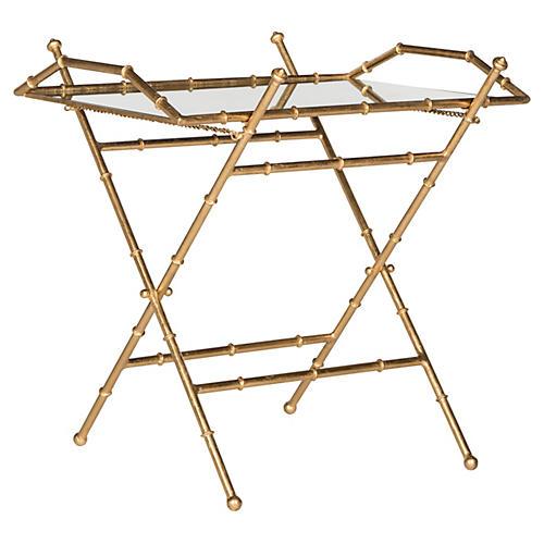 Mott Bamboo Tray Table, Gold/Mirror