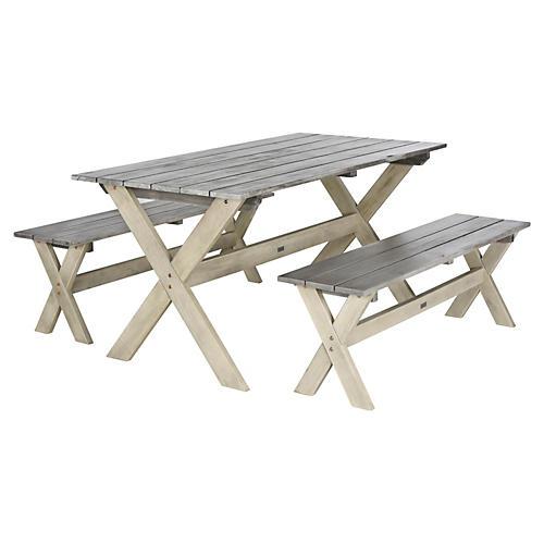 Outdoor Hana 3-Piece Dining Set, Gray
