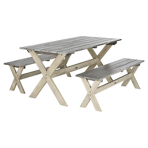 Outdoor Hana 3-Piece Dining Set, Gray