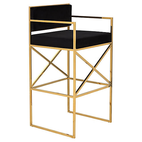 Walsh Barstool, Black/Gold